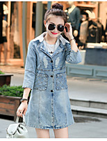 Women's Casual/Daily Simple Spring Fall Denim Jacket,Solid Shirt Collar ¾ Sleeve Long Cotton
