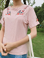 Women's Casual/Daily Simple T-shirt,Floral Round Neck Short Sleeves Cotton