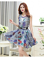 Women's Casual/Daily Simple Summer Hoodie Skirt Suits,Print Crew Neck Sleeveless