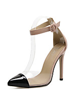 Women's Heels Comfort Novelty Spring Fall PU PVC Wedding Office & Career Party & Evening Dress Buckle Stiletto Heel Silver Black 3in-3
