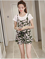 Women's Casual/Daily Simple Summer T-shirt Pant Suits,Leaf Round Neck Short Sleeve