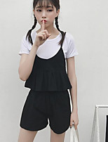 Women's Casual/Daily Simple Summer Tank Top Pant Suits,Solid Off Shoulder Sleeveless