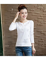 Women's Casual/Daily Simple T-shirt,Print Round Neck Long Sleeves Cotton