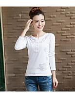 T-shirt Da donna Casual Semplice Con stampe Rotonda Cotone Manica lunga