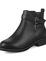 Women's Boots Comfort Bootie Fall Winter Leatherette Casual Dress Buckle Zipper Chunky Heel White Black Almond 1in-1 3/4in