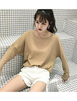 Women's Casual/Daily Simple T-shirt,Solid Print Round Neck Long Sleeves Cotton