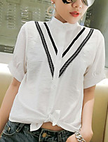 Women's Casual/Daily Simple Shirt,Solid Round Neck Short Sleeves Others