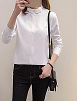 Women's Casual/Daily Simple Shirt,Solid Stand Long Sleeves Cotton Others