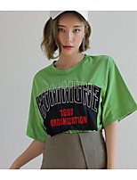 Women's Casual/Daily Sexy Cute T-shirt,Solid Print Letter Round Neck Short Sleeves Cotton