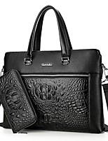 Uomo Sacchetti Per tutte le stagioni PU (Poliuretano) sacchetto regola Set di borsa da 2 pezzi per Nero