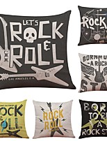 Set of 6 Alphabet Guitar Linen Cushion Cover Home Office Sofa Square Pillow Case Decorative Cushion Covers Pillowcases (18*18Inch)