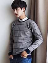 Men's Going out Casual/Daily Short Pullover,Solid Striped Round Neck Long Sleeves Cotton Others Spring Fall Thin Micro-elastic