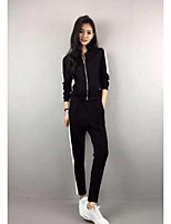 Women's Going out Vintage Summer Hoodie Pant Suits,Solid Round Neck Long Sleeve