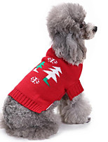 Cat Dog Sweatshirt Dog Clothes Party Casual/Daily Christmas Solid Ruby