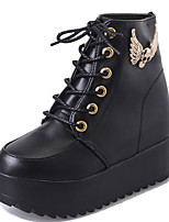 Women's Boots Comfort PU Fall Casual Lace-up Flat Heel Black White Flat