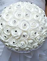 Wedding Flowers Round Roses Bouquets Wedding / Party/ Evening Satin / Silk / Bead / Rhinestone