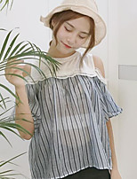 Women's Going out Casual/Daily Simple Cute Summer Blouse,Color Block Round Neck Short Sleeves Cotton Medium