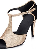 Women's Latin Glitter Sandals Performance Sparkling Glitter Stiletto Heel Black/Gold 3