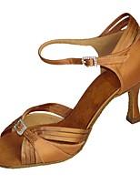 Women's Latin Silk Sandals Performance Buckle Cuban Heel Brown Almond 2