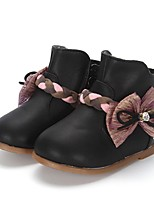 Girls' Boots Comfort Leatherette Winter Wedding Casual Party & Evening Dress Bowknot Applique Zipper Flat Heel Black Flat