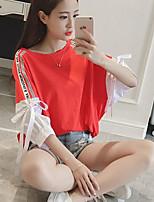 T-shirt Da donna Casual Semplice Estate,Tinta unita Rotonda Cotone Mezza manica Medio spessore