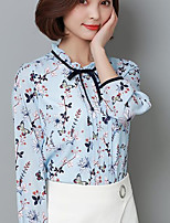 Women's Casual/Daily Simple Cute Spring Shirt,Geometric Round Neck Long Sleeves Spandex Medium