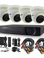 YanSe® 4pcs Dome CCTV Cameras DVR Kits IR Color Indoor Cameras Security Seystem (4CH 5-to-1 DVR AHD/TVI/CVI/CVBS/IP)