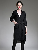 ZIYI Women's Casual/Daily Simple Fall Trench Coat,Solid Print Shirt Collar ¾ Sleeve Short Cotton Linen Polyester