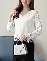 Для женщин На выход На каждый день Осень Блуза V-образный вырез,Простое Однотонный Длинный рукав,Хлопок