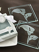 2pcs/box - Floral Glass Coaster Beter Gifts® Life Style / Bridesmaids Bachelorette Bridal Shower Favors
