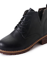 Women's Boots Comfort PU Spring Fall Casual Lace-up Low Heel Khaki Brown Black Under 1in