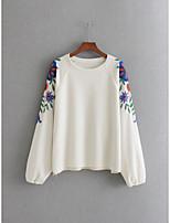 T-shirt Da donna Per uscire Casual Sensuale Semplice Moda città Primavera Autunno,Ricamato Rotonda Cotone Manica lunga Medio spessore