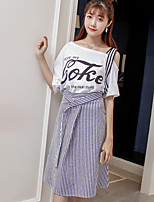 Women's Casual/Daily Simple Summer T-shirt Skirt Suits,Striped Quotes & Sayings Off Shoulder Short Sleeve