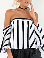 Women's Shopping Going out Casual/Daily Street Sexy Simple Backless Street chic Spring Summer T-shirtStriped Color Block Off Shoulder Boat Neck