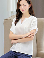 Women's Casual/Daily Simple Shirt,Solid V Neck Short Sleeves Cotton Linen Others