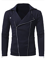 Men's Plus Size Plus Size Going out Casual/Daily Simple Sweatshirt Solid Cut Out Shirt Collar Inelastic Cotton Long Sleeve Fall Winter