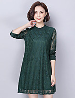 Women's Plus Size Street chic Loose Dress,Jacquard Round Neck Above Knee Long Sleeves Polyester Spring Fall Mid Rise Micro-elastic Medium