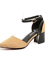 Women's Heels Light Soles PU Summer Casual Dress Buckle Block Heel Khaki Gray Black 2in-2 3/4in