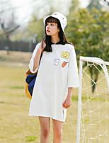 Tee-shirt Femme,Couleur Pleine Imprimé Décontracté / Quotidien simple Mignon Manches 3/4 Col Arrondi Coton