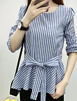Damen Gestreift Einfach Lässig/Alltäglich T-shirt,Rundhalsausschnitt 3/4 Ärmel Baumwolle Andere