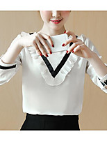 Women's Casual/Daily Simple Blouse,Solid Print Round Neck Long Sleeves Cotton