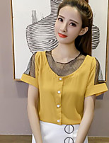 Women's Casual/Daily Simple Blouse,Solid Round Neck Short Sleeves Others
