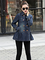 Women's Going out Casual/Daily Simple Spring Fall Denim Jacket,Solid Peaked Lapel Long Sleeve Regular Cotton