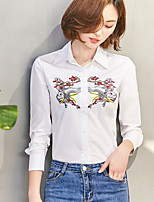 Women's Casual/Daily Simple Shirt,Embroidery Shirt Collar Long Sleeves Cotton