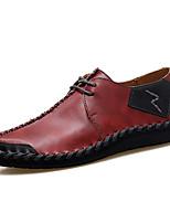 Недорогие -Муж. обувь Наппа Leather Весна Лето Удобная обувь Туфли на шнуровке для Повседневные Офис и карьера Черный Коричневый Винный