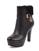 Для женщин Ботинки Удобная обувь Оригинальная обувь Ботильоны Весна Зима Дерматин Повседневные Пряжки На толстом каблуке Белый Черный