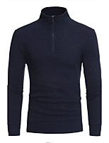 Men's Plus Size Casual/Daily Simple Regular Pullover,Solid Stand Long Sleeves Cotton Fall Winter Medium Stretchy