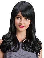Ripe Graceful   Black Color Long Wave Human Hair Wigs  For  Women