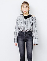 Women's Going out Street chic Shirt,Check Shirt Collar Long Sleeves Cotton