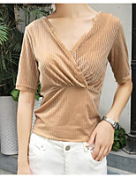 Women's Casual/Daily Sexy Blouse,Striped V Neck Short Sleeves Polyester